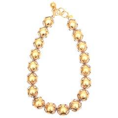 Anne Klein Gold Ball Silver Loop Necklace Vintage