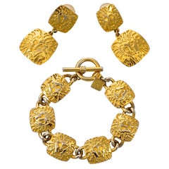 Anne Klein Gold Plated Lion Link Bracelet and Lion Drop Earrings Set circa 1980s