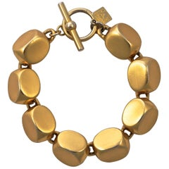 Anne Klein Gold Plated Satin Brushed Link Bracelet with Toggle Clasp circa 1980s