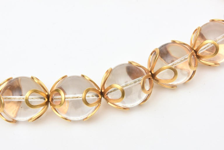 Modern Anne Klein Lucite and Gold Filled Ball Necklace Vintage For Sale