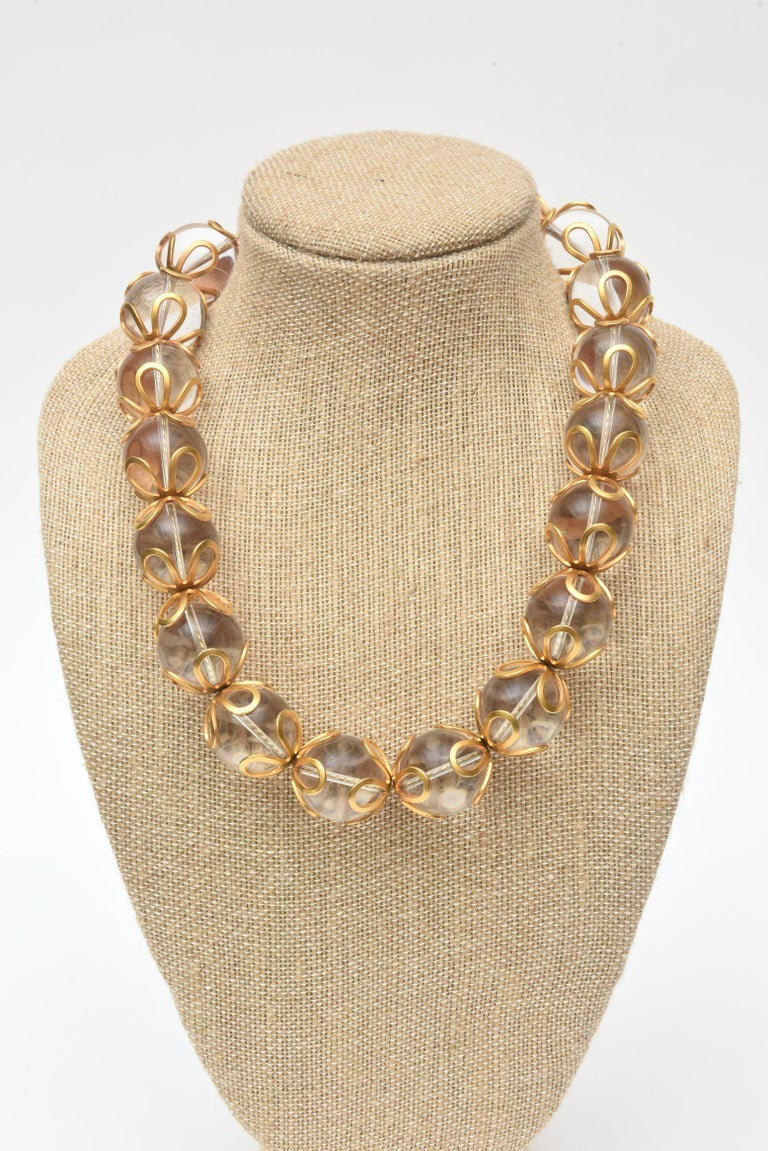 Women's Anne Klein Lucite and Gold Filled Ball Necklace Vintage For Sale