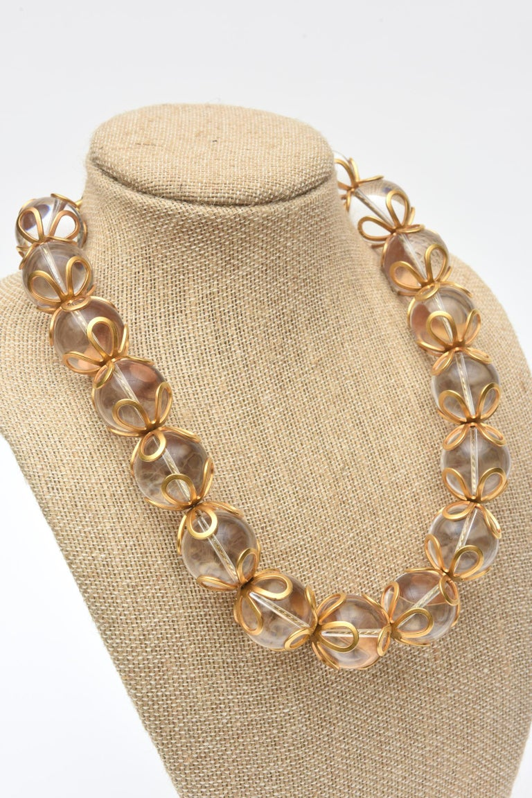 Anne Klein Lucite and Gold Filled Ball Necklace Vintage For Sale 1
