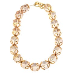 Anne Klein Lucite and Gold Filled Ball Necklace Vintage