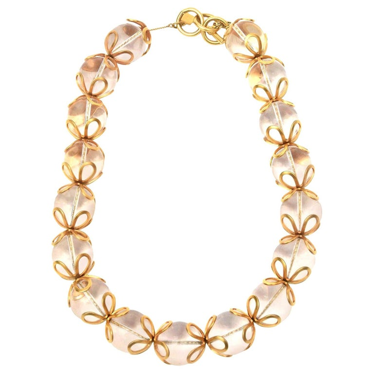 Anne Klein Lucite and Gold Filled Ball Necklace Vintage For Sale