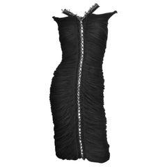 Anne Klein New Ruched Dress with Chain Trim