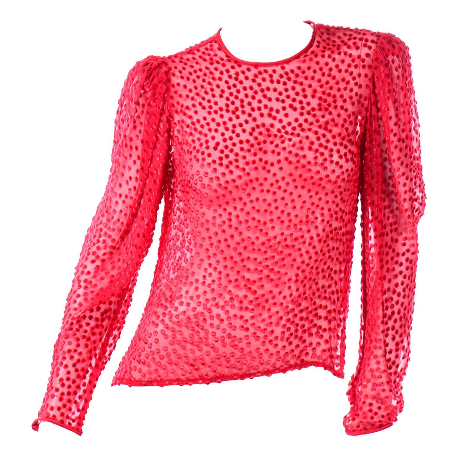 Anne Klein Vintage Top Sheer Silk Dot Red Blouse