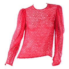 Anne Klein Vintage Top Sheer Silk Dot Red Blouse