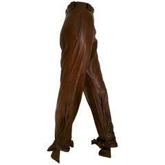 "Anne Marie BERETTA Paris ""New"" Brown Leather up to under Heel Trousers - Unworn"