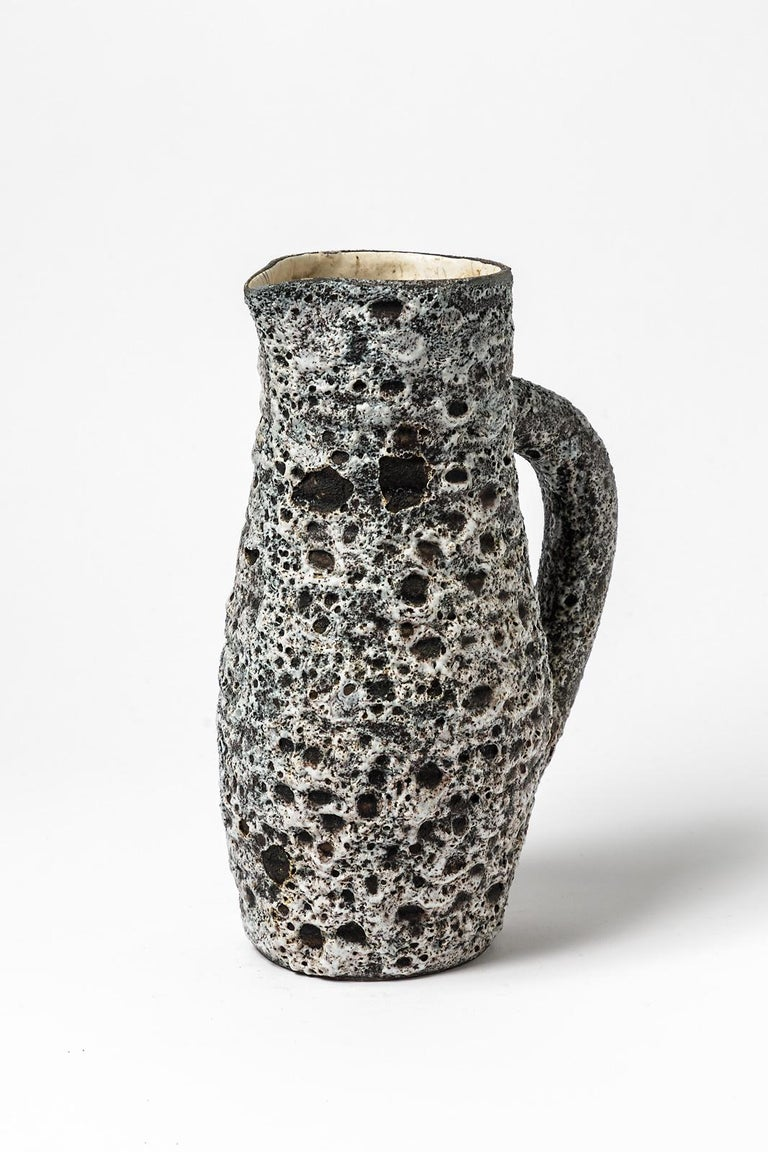French Anne Masse Vallauris Black and Whitemid Century Ceramic Pitcher, circa 1960 For Sale