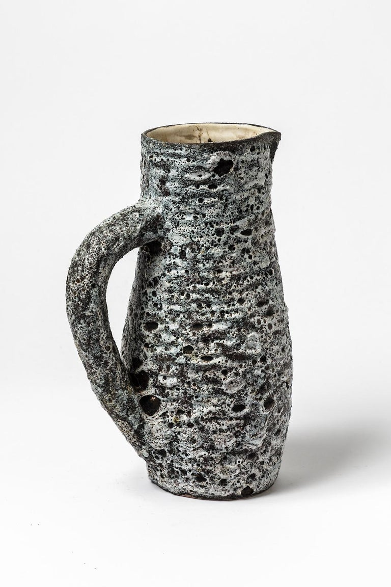 Anne Masse Vallauris Black and Whitemid Century Ceramic Pitcher, circa 1960 In Excellent Condition For Sale In Neuilly-en- sancerre, FR