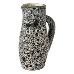 Anne Masse Vallauris Black and Whitemid Century Ceramic Pitcher, circa 1960