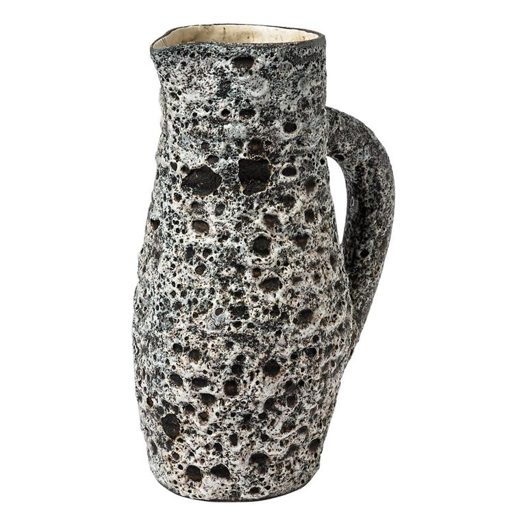 Anne Masse Vallauris Black and Whitemid Century Ceramic Pitcher, circa 1960 For Sale