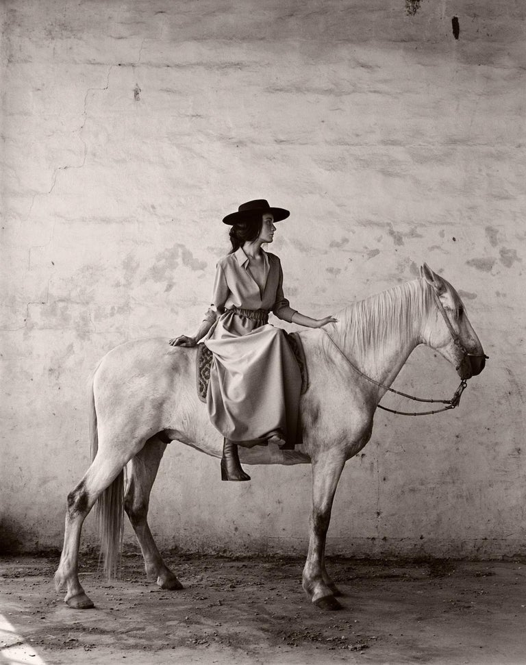 Anne Menke Black and White Photograph - Model on Horse