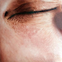 Closed - contemporary hyperrealistic close-up detail eye human face oil painting