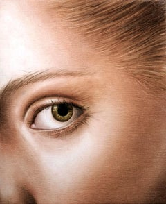 Closer 2 - contemporary woman face eye detail hyperrealistic oil painting