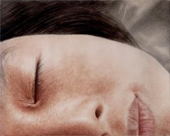 Sleeping Mimi 1 - contemporary hyperrealist close-up child face oil painting