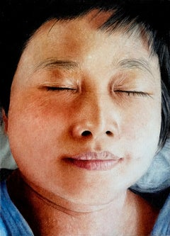 Sleeping Mimi 2 - contemporary hyperrealistic portrait child face oil painting