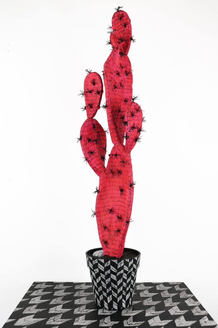 Anne Muntges Figurative Sculpture - Contemporary Conceptual Cactus Sculpture Plant Drawing Pink Female artist NYC