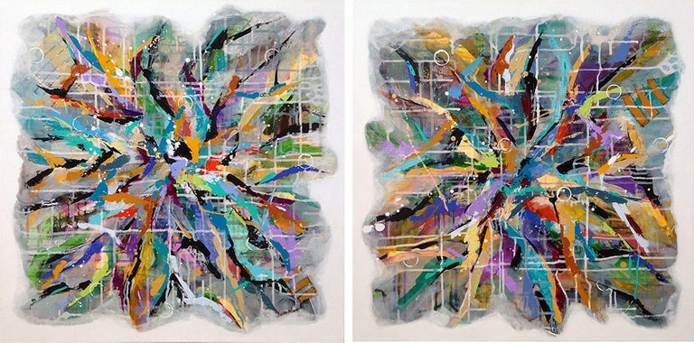 Anne Oliver Abstract Painting - Sheer Bliss I and II, Painting, Acrylic on Canvas