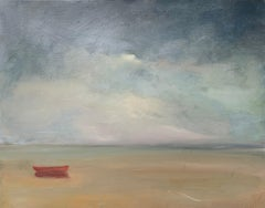"Lone Red Dory, Anne Packard 24x30"" oil painting"