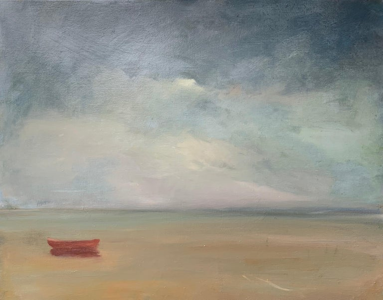 """Ann Packard Figurative Painting - Lone Red Dory, Anne Packard 24x30"""" oil painting"""