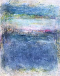 Bay Blue II, Abstract Oil Painting on Canvas, Signed
