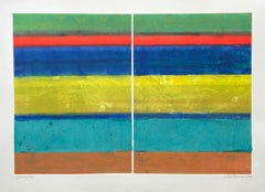 Journey West I, Diptych, Abstract Paintings on Paper, Monotype, Signed