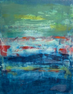 River Swim, Abstract Seascape Oil Painting, Monotype on Paper, Signed
