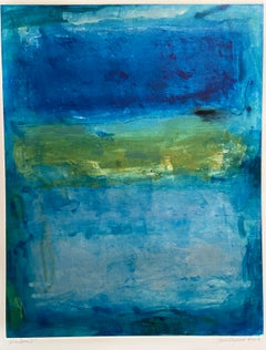 River Swim I, Abstract Seascape Oil Painting, Monotype on Paper, Signed