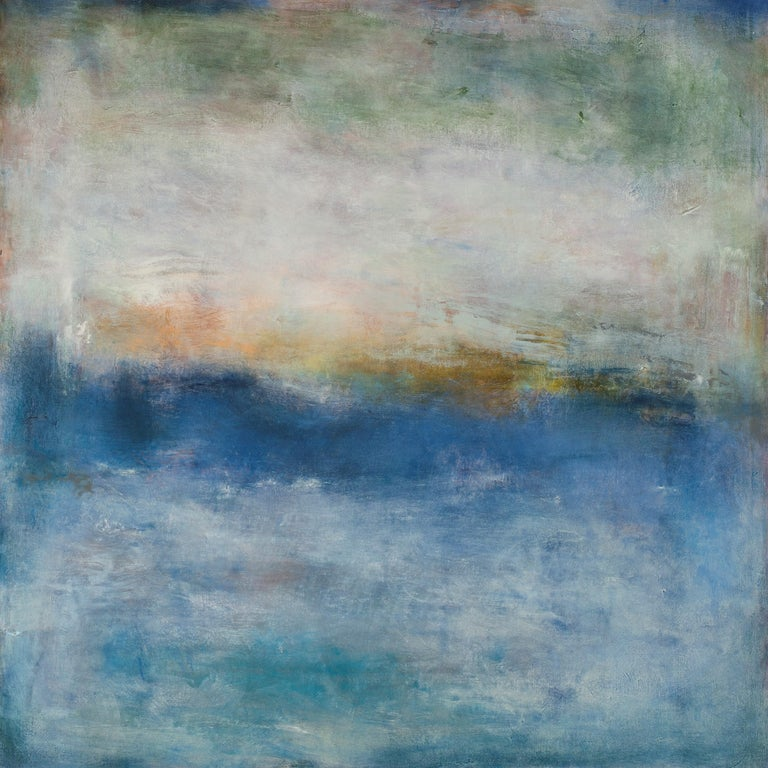 Anne Raymond Abstract Painting - Sky Composition, Abstract Seascape, Oil Painting on Canvas, Signed