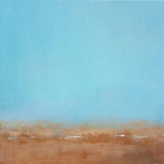 """""""Cloud 1"""", Turquoise Sky Claire Rust Earth Abstract Landscape Acrylic Painting"""