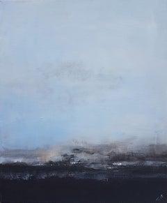 """Horizon"", Nuanced Light Blue Navy Blue Abstract Landscape Acrylic Painting"