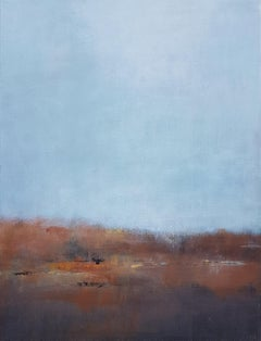 """""""Mist 2"""", Blue Brown Rust Abstract Landscape Acrylic Painting"""