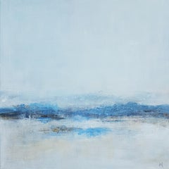 """""""White Landscape"""", Blue Abstract Acrylic Painting on Canvas"""