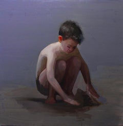 Beach Day II- 21st Century Contemporary Oil Painting of a young Boy on the Beach