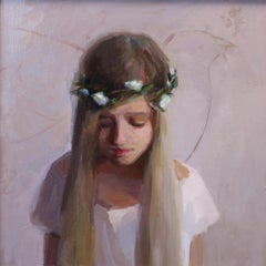 Peace of Mind- 21st Century Contemporary Portrait Painting of a young Girl