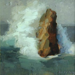 Rock In The Sea - 21st Century Contemporary Painting On Epoxy Resin