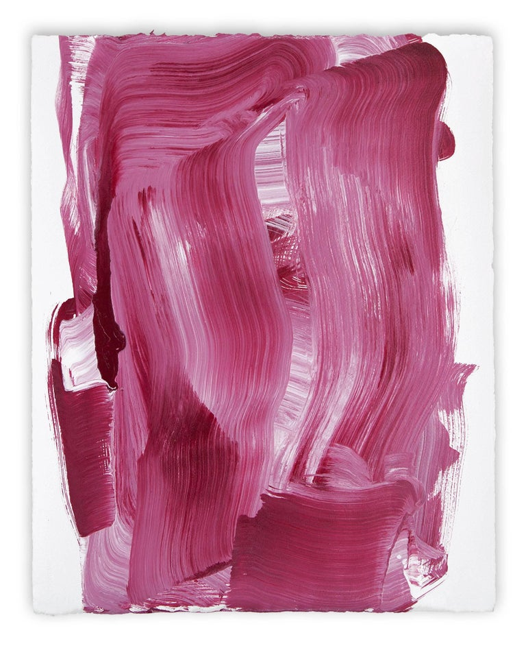 Anne Russinof Abstract Drawing - Red Swash (Abstract painting)