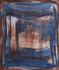 """Broad Strokes 10"", gestural abstract aquatint monoprint, layers blue, sanguine."