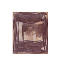 Broad Strokes 11, gestural abstract monotype, layered in purple and raw umber.