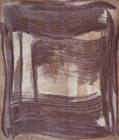 """""""Broad Strokes 11"""", gestural abstract aquatint monotype, violet, raw umber."""