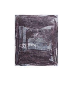"""Broad Strokes 5"", gestural abstract  aquatint monoprint, Payne's grey, violet."