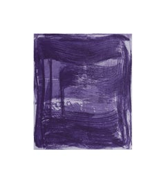 Broad Strokes 6, gestural abstract aquatint monoprint, layered shades of violet.