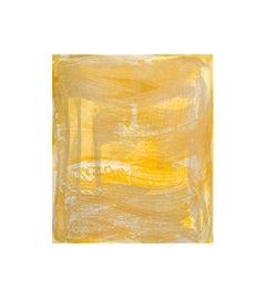 Broad Strokes 7, gestural abstract aquatint monoprint, layered silver,  yellow.