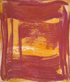 Broad Strokes 8, gestural abstract monotype, layered in yellow and red.