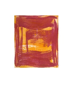Broad Strokes Eight, gestural abstract aquatint print, layers red, indian yellow