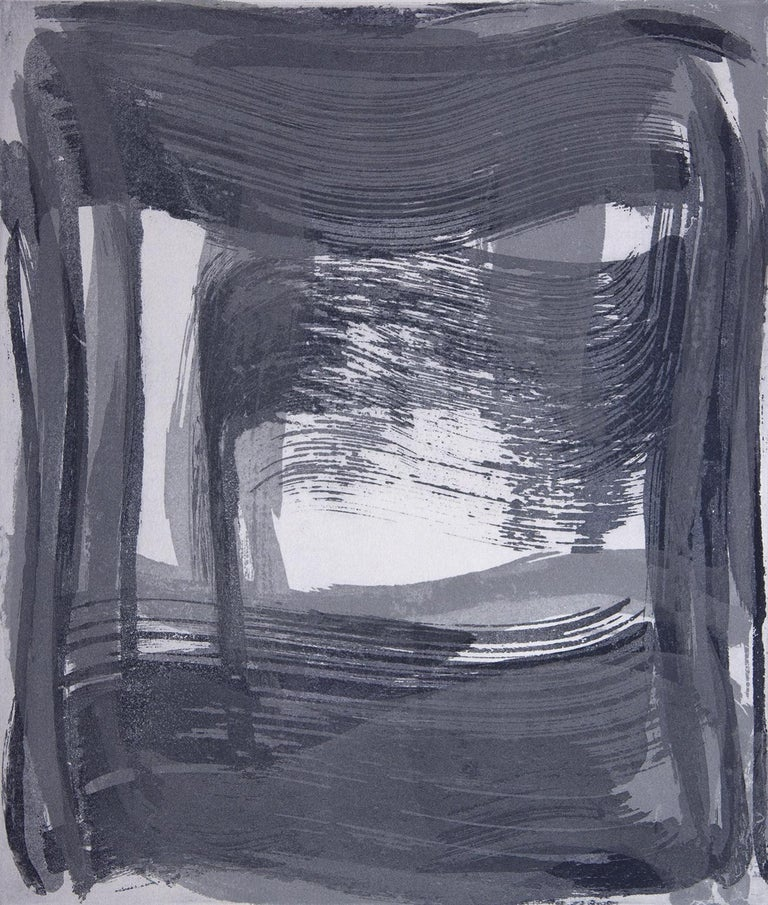 Broad Strokes Nine, gestural abstract aquatint print, ultramarine blue, silver. - Print by Anne Russinof