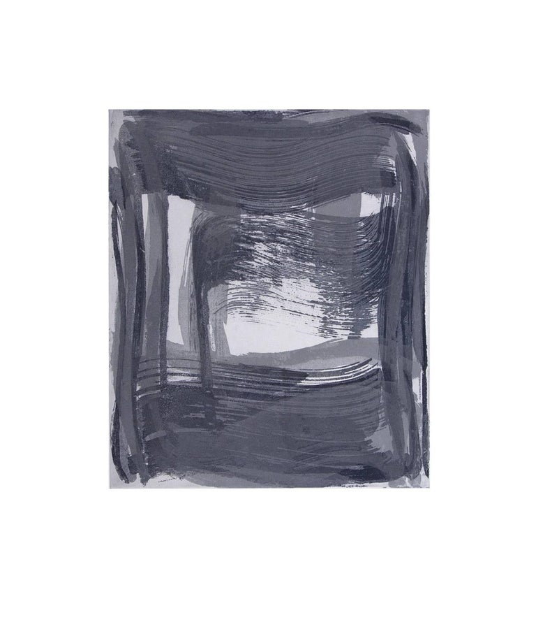 Anne Russinof Abstract Print - Broad Strokes Nine, gestural abstract aquatint print, ultramarine blue, silver.