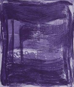 """Broad Strokes Six "", gestural abstract aquatint print, layered violet and blue"