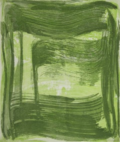 """Broad Strokes Two"", gestural abstract aquatint print, spring and deep green."